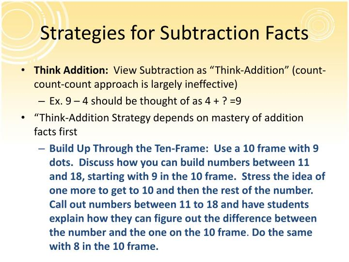 Strategies for Subtraction Facts