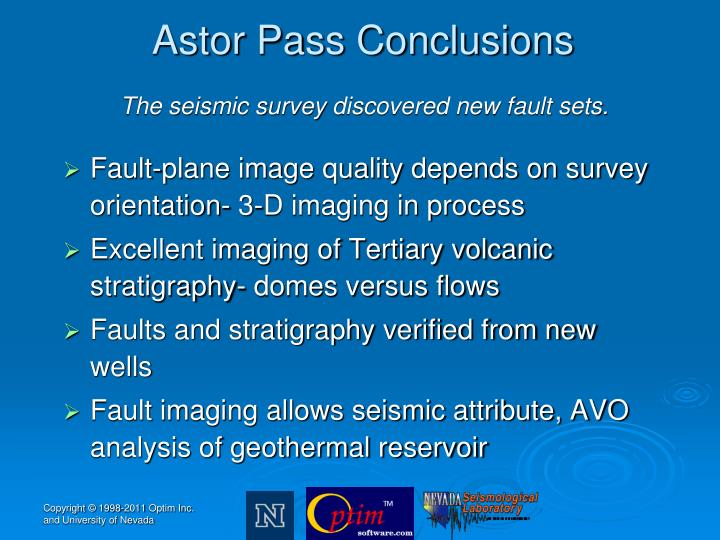 Astor Pass Conclusions