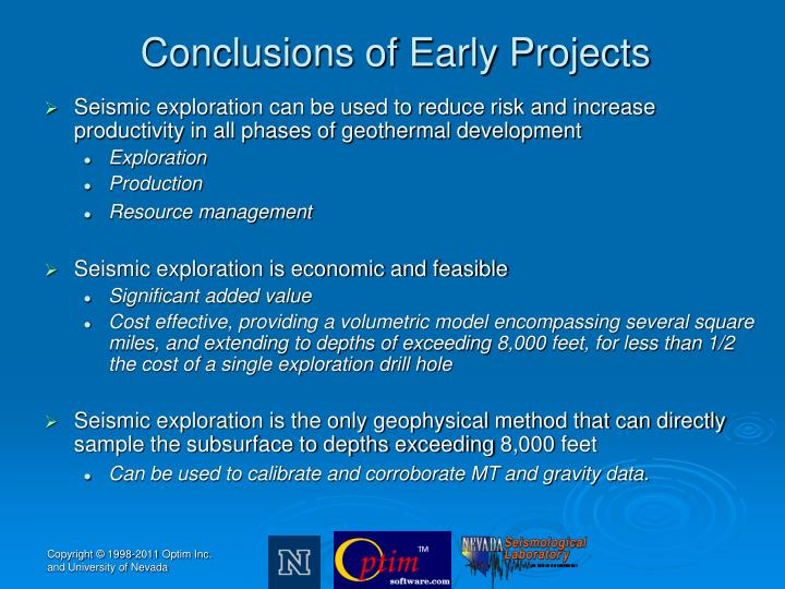Conclusions of Early Projects