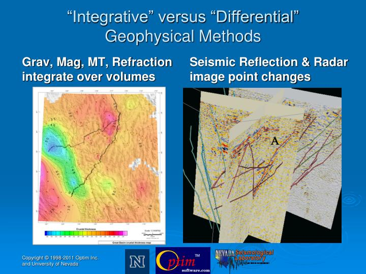 Integrative versus differential geophysical methods