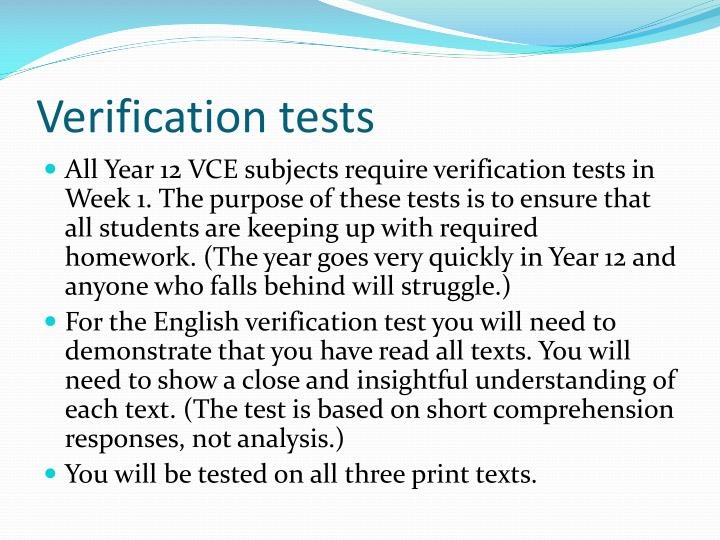 Verification tests