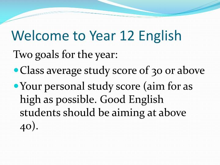 Welcome to Year 12 English