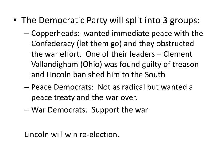 The Democratic Party will split into 3 groups: