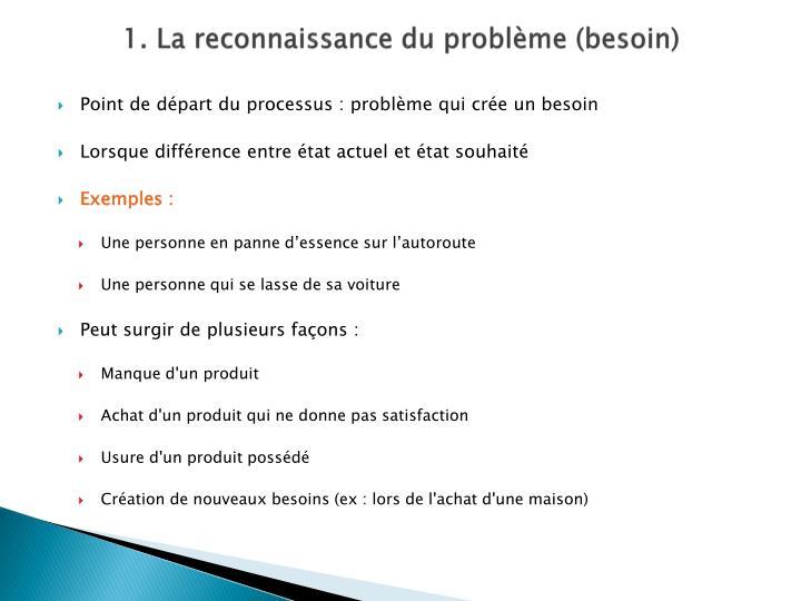 1. La reconnaissance du problème (besoin)
