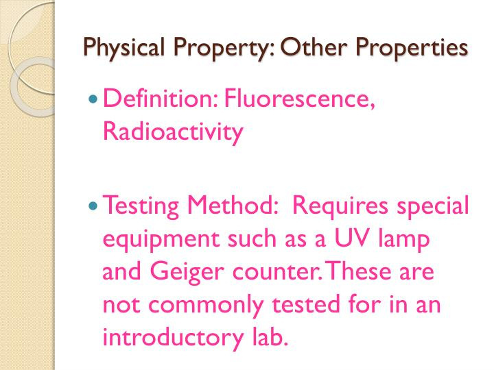 Physical Property: Other Properties
