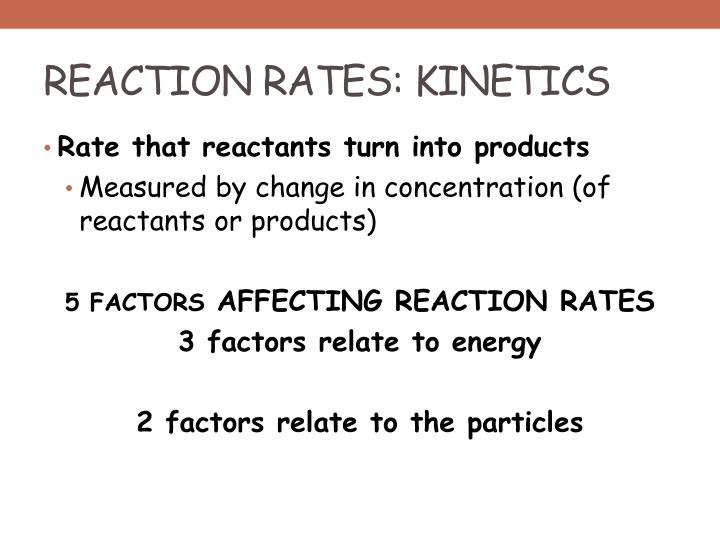 REACTION RATES: KINETICS