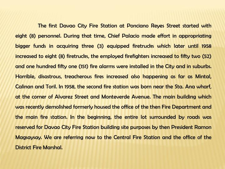 The first Davao City Fire Station at