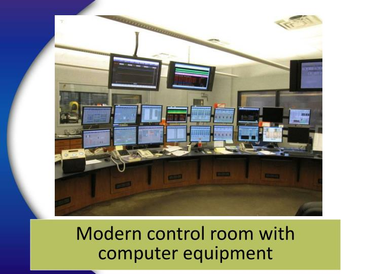Modern control room with computer equipment