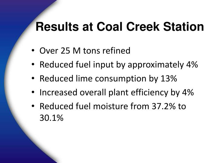 Results at Coal Creek Station