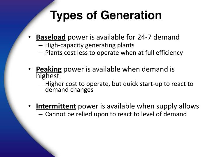 Types of Generation