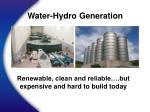 water hydro generation