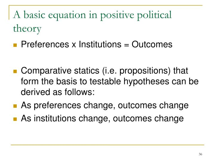 A basic equation in positive political theory
