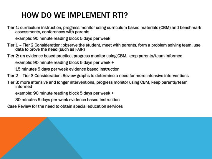 How do we Implement RTI?
