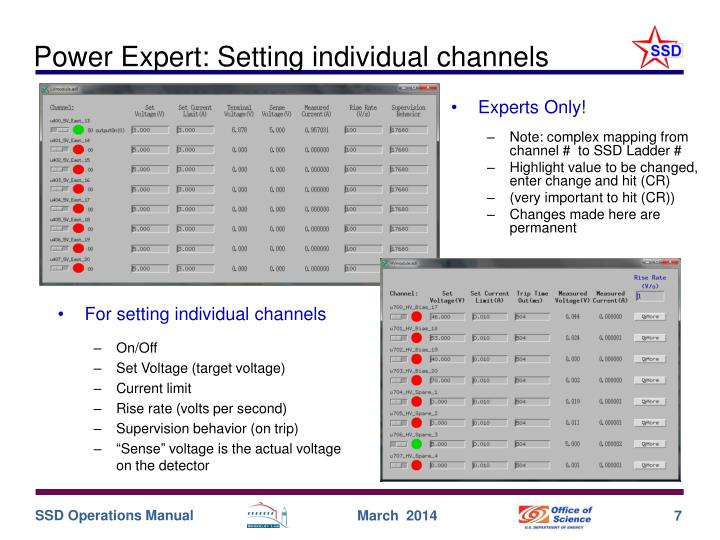 Power Expert: Setting individual channels