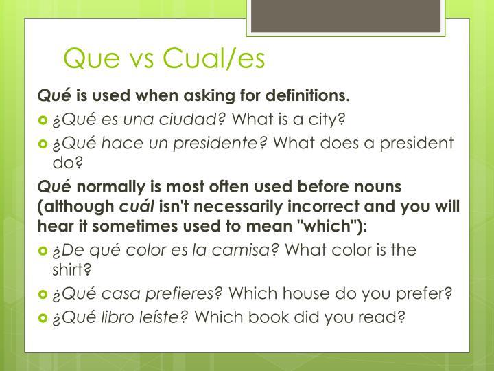 Que vs Cual/es