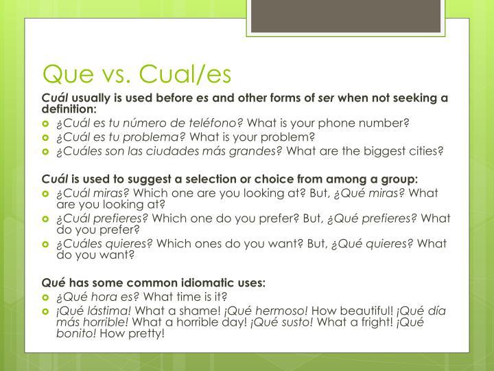 Que vs. Cual/es