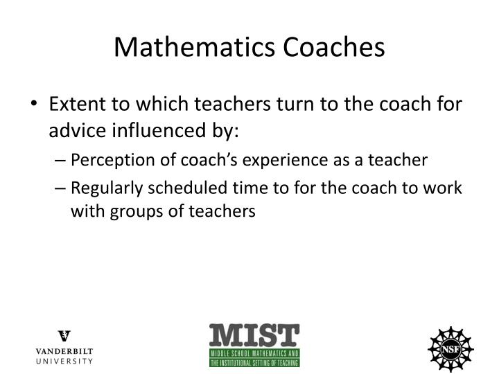 Mathematics Coaches