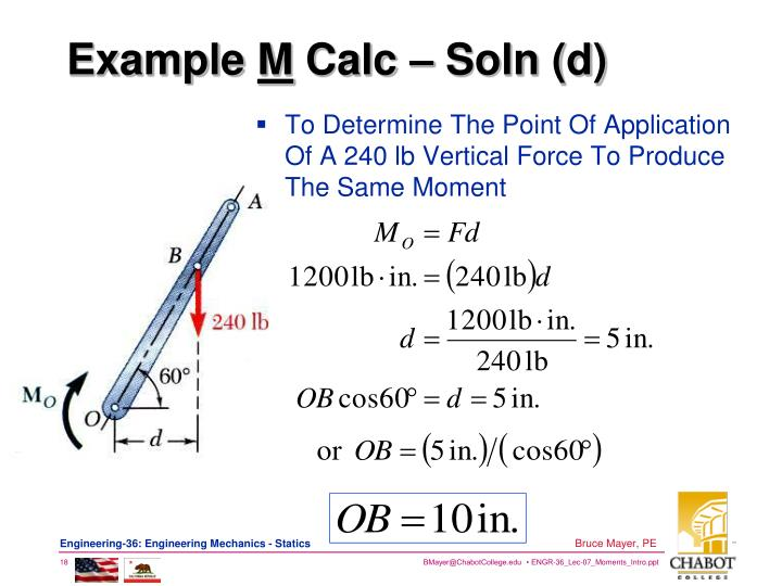 To Determine The Point Of Application Of A 240 lb Vertical Force To Produce The Same Moment