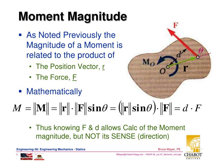 As Noted Previously the Magnitude of a Moment is related to the product of