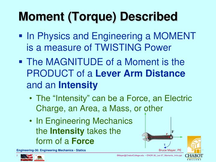 Moment torque described