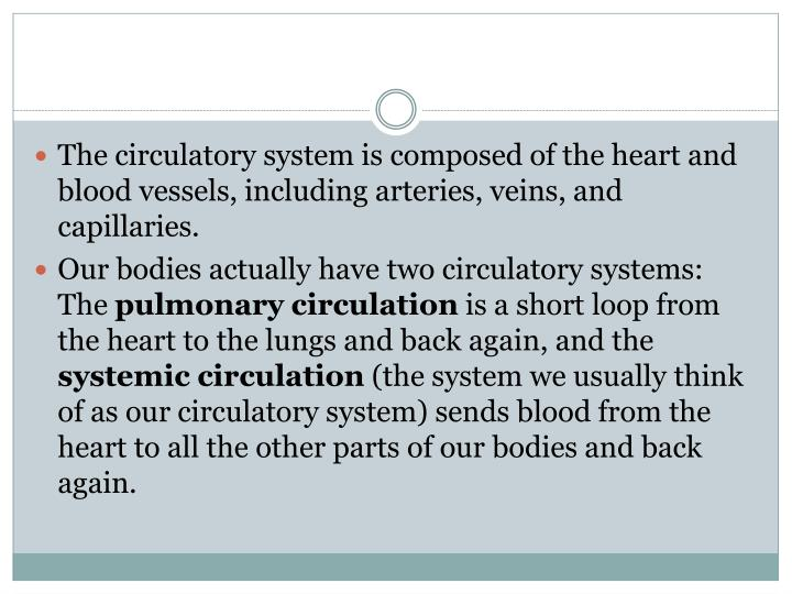 The circulatory system is composed of the heart and blood vessels, including arteries, veins, and capillaries.