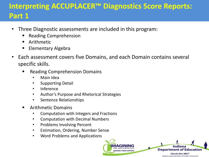 Interpreting ACCUPLACER™ Diagnostics Score Reports: Part 1