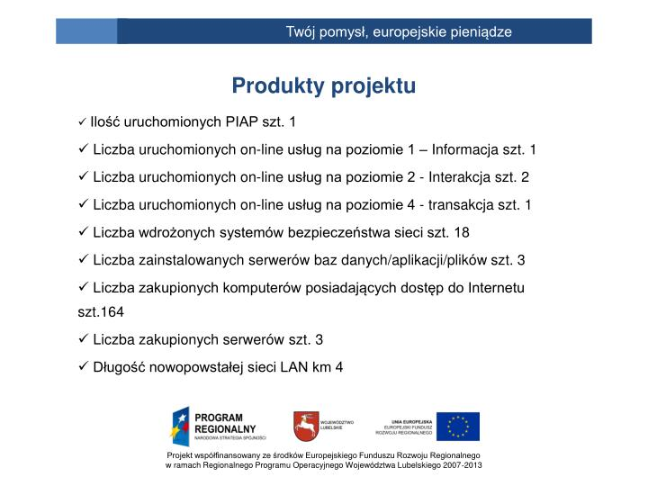 Produkty projektu