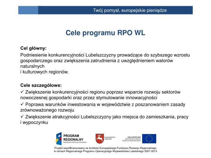 Cele programu RPO WL