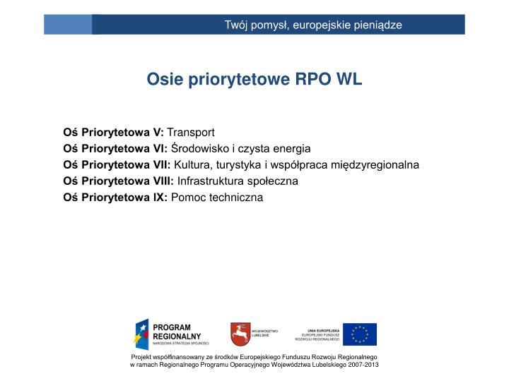 Osie priorytetowe RPO WL