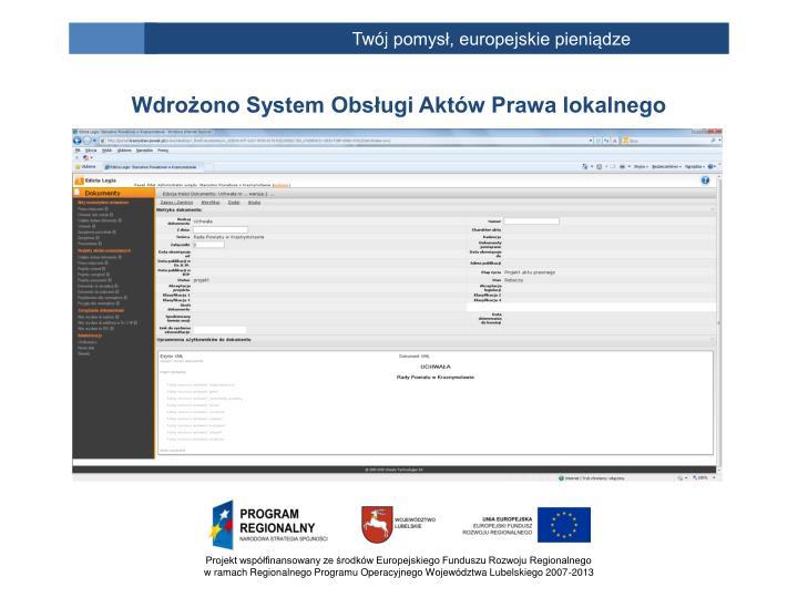 Wdrożono System Obsługi Aktów Prawa lokalnego