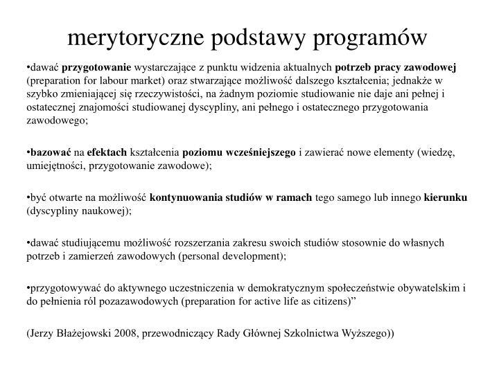 merytoryczne podstawy programów