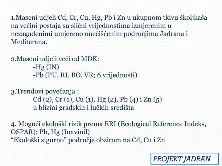 1.Maseni udjeli Cd, Cr, Cu, Hg, Pb i Zn u ukupnom tkivu školjkaša na većini postaja su slični vrijednostima izmjerenim u nezagađenimi umjereno onečišćenim područjima Jadrana i Mediterana.