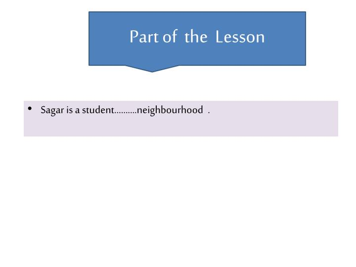 Part of  the  Lesson