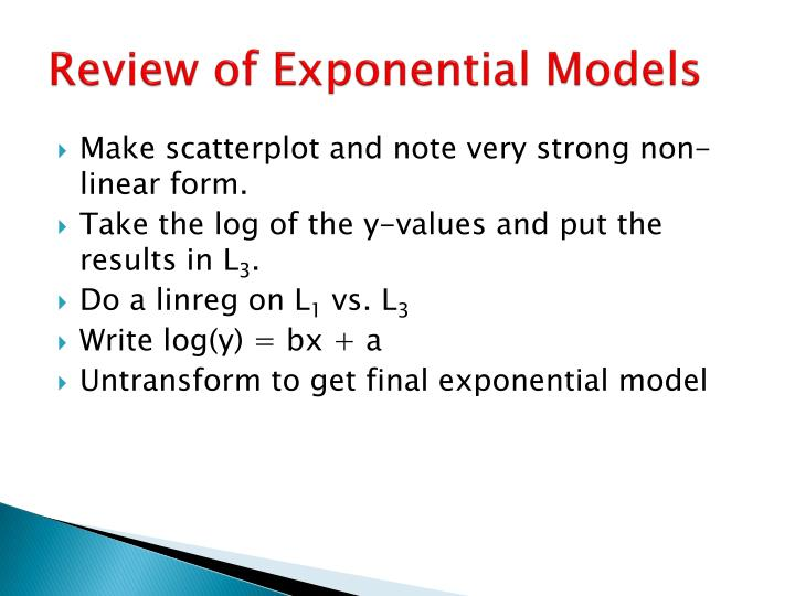 Review of Exponential Models