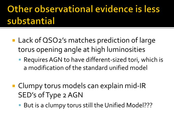 Other observational evidence is less substantial