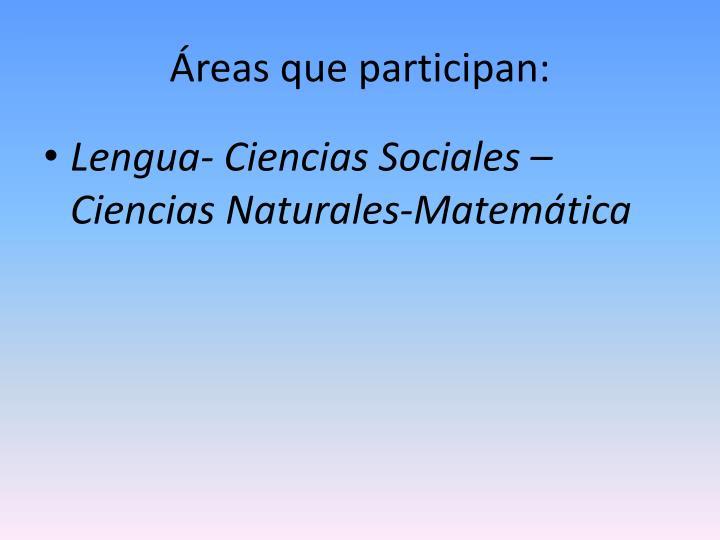 Áreas que participan: