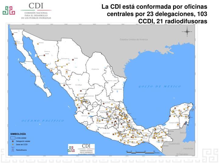 La CDI está conformada por oficinas centrales por 23 delegaciones, 103 CCDI,