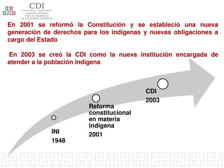 En 2001 se reformó la Constitución y se estableció una nueva generación de derechos para los indígenas y nuevas obligaciones a cargo del Estado