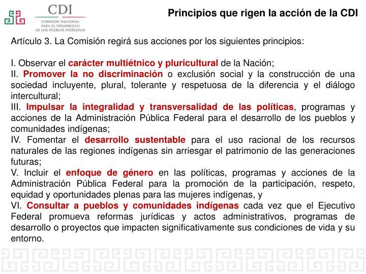 Principios que rigen la acción de la CDI