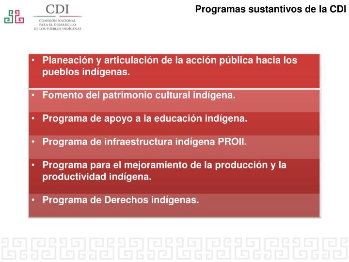 Programas sustantivos de la CDI
