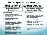 some specific criteria for evaluation of student writing