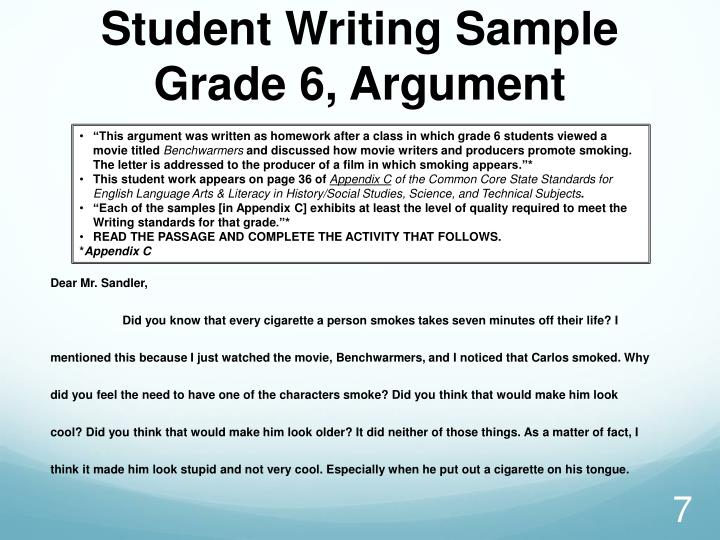 Student Writing Sample