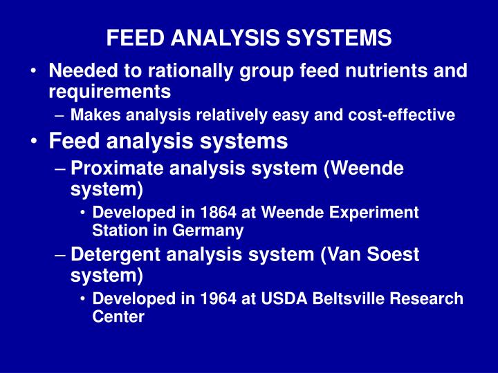 FEED ANALYSIS SYSTEMS