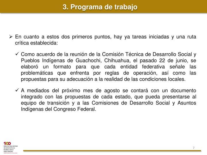 3. Programa de trabajo