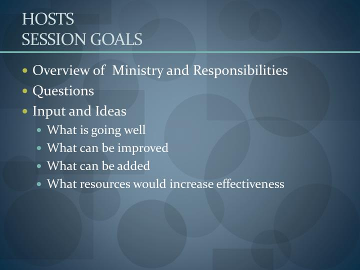 Hosts session goals