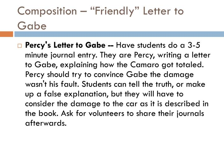 "Composition – ""Friendly"" Letter to Gabe"