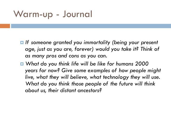 Warm-up - Journal
