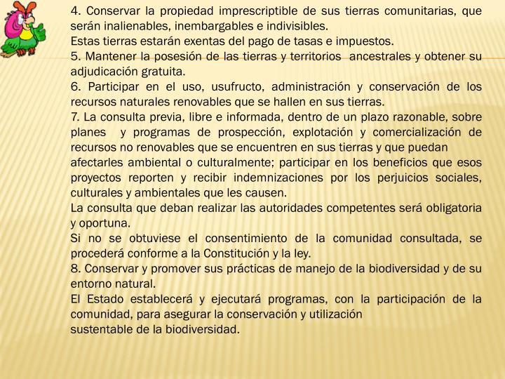 4. Conservar la propiedad imprescriptible