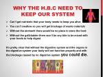 why the h b c need to keep our system