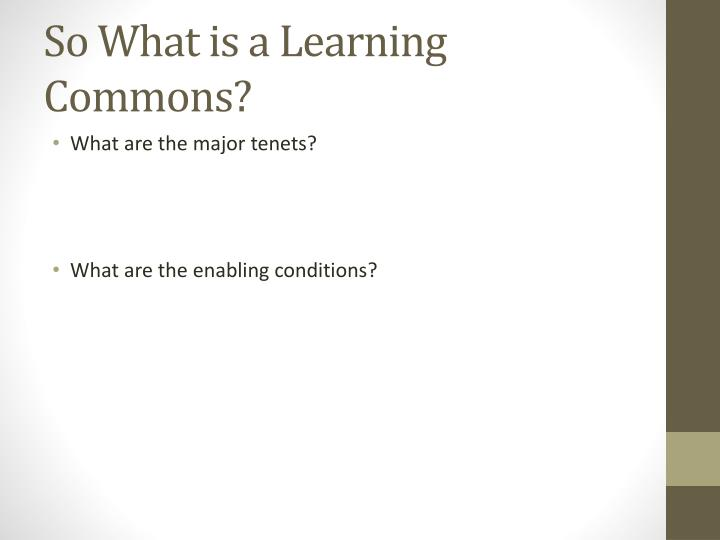 So What is a Learning Commons?